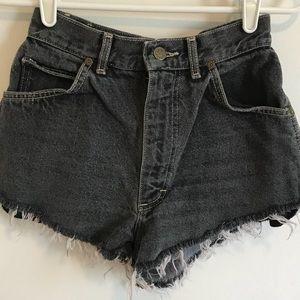 Vintage High Waisted Black Denim Shorts